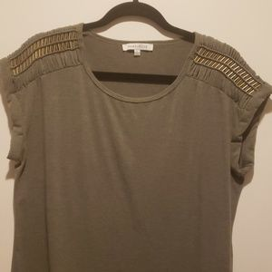 Olive green tee, cuffed with gold metallic accents